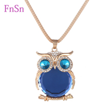 Fashion Womens Necklaces Jewelry Trendy Charms Crystal Owl Necklace Gold Long Chain Animal Necklaces&Pendants 2016 Hot Sale(China (Mainland))