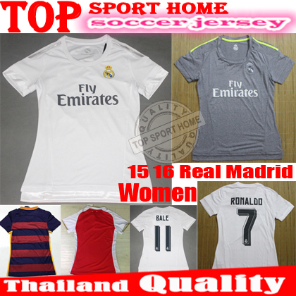 Thai quality 2015 2016 Real Madrid women Jersey 15 16 Real madrid lady Mujere soccer jersey BALE RONALDO girl Football Shirts(China (Mainland))
