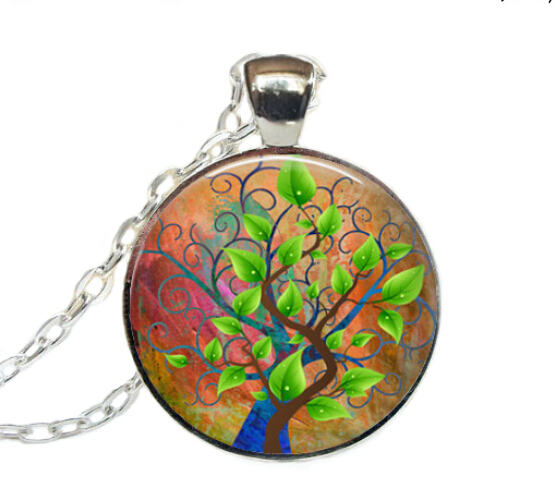 Free shipping Tree Necklace, Nature Jewelry, Forest Pendant Necklace,Tree of Life Necklace(China (Mainland))