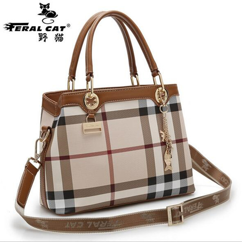 FERAL CAT Famous Brand Woman Handbag Lattice High Quality Female Shoulder Bag Double Leather Long Shoulder Strap Messenger Bag(China (Mainland))