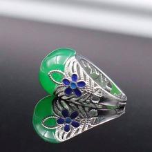 Дворянского дизайн серебряное кольцо природный Джаспер кольцо чистого твердого стерлингового серебра 925 классический кольцо лучший ювелирный подарок на день матери(China (Mainland))