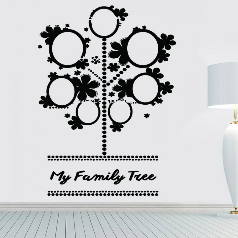 Cute Photo Frame Family Tree Wall Stickers Black Vinyl Removable DIY Home Decor Creative