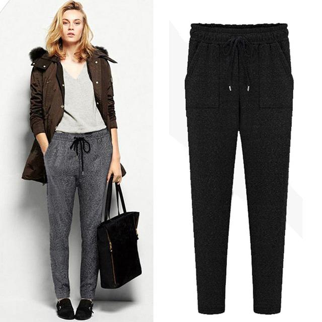 Новые зимние широкий спортивные женские брюки свободного покроя гарем брюки высокое ...