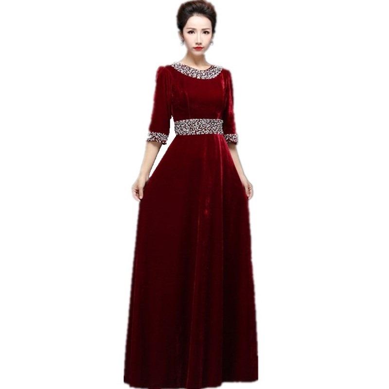2017 Long Burgundy Formal Abendkleider Evening Dresses Kaftan New arrival Formal Dresses with Sleeve Mother of the Bride B45(China (Mainland))
