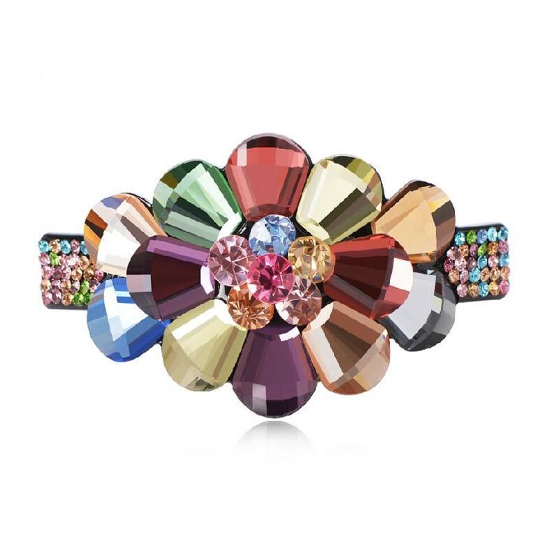 Indian Hair Jewelry Rhinestone Flower Ponytail Fashion Hairpin Crystal Bridal Headpieces Spring Hair Clip(China (Mainland))