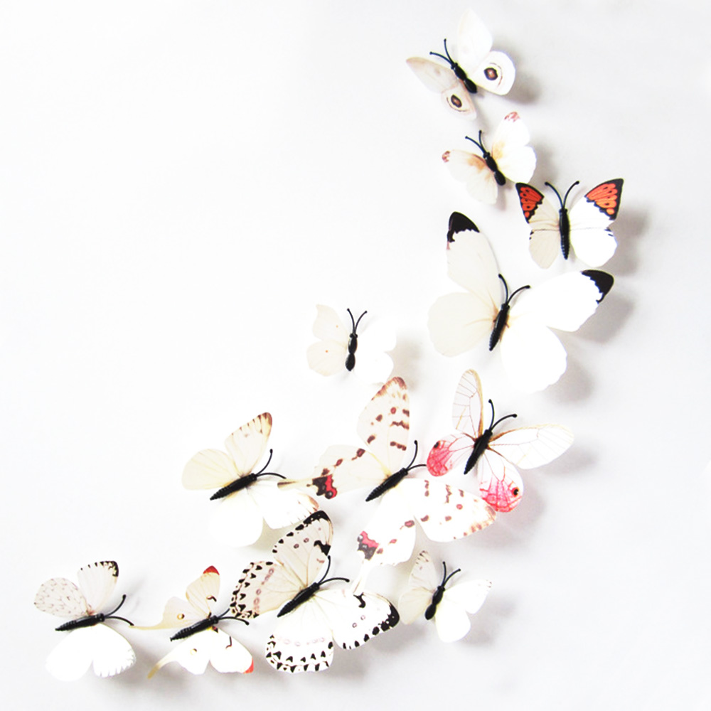 Hot Sale12pcs PVC Magnet 3D Butterfly Wall Decor Cute Butterflies Home Decor For Kids Rooms Adhesive To Wall Decoration HG0107(China (Mainland))