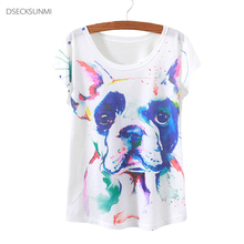 2016 Brand New Polyester T-Shirt Women Short Sleeve t-shirts o-neck Causal loose Watercolor dog t shirt Summer tops for women