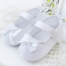 New White Bowknot Baby Girl Lace Shoes Toddler Prewalker Anti-Slip Shoe Simple Baby Shoes(China (Mainland))