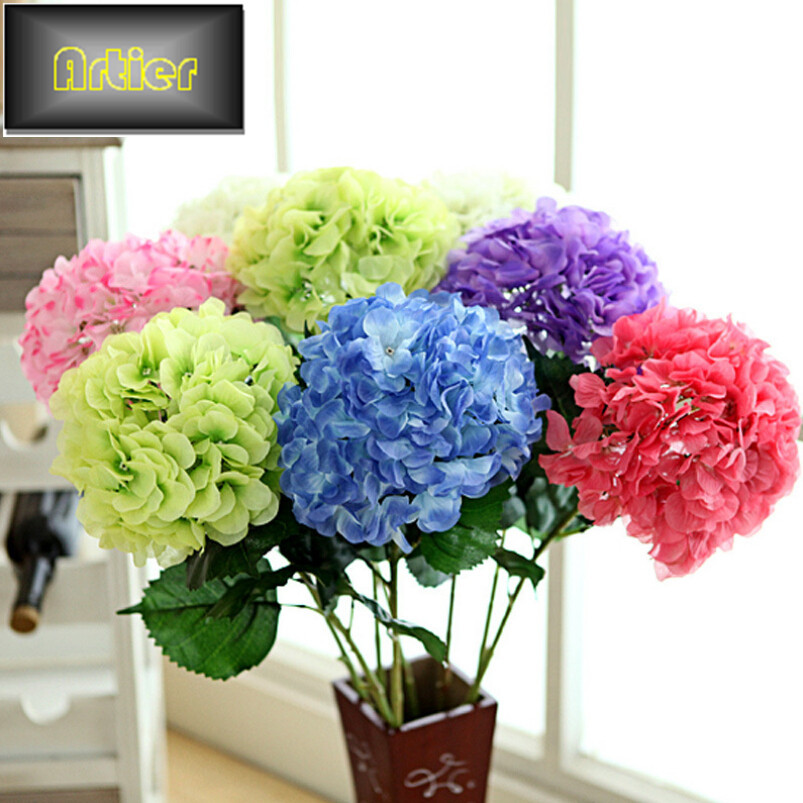 Wholesale simulation of large hydrangeas artificial flower high ramiflorous floor flower placed in the living room(China (Mainland))