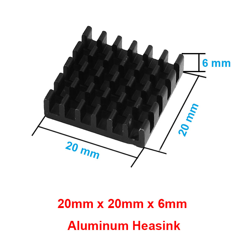 10pcs/lot Anodized Black Aluminum Heatsink 20x20x6mm Electronic Cooling Radiator Cooler for Graphics Video Card, IC,Motherboard(China (Mainland))