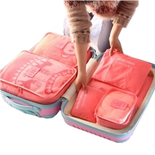 6pcs/set Fashion Double Zipper Waterproof Polyester Men and Women Luggage Travel Bags packing cubes(China (Mainland))