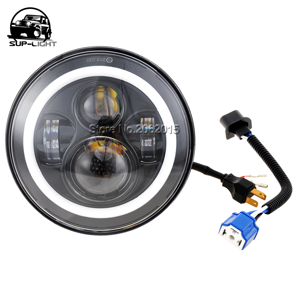 1 piece 7 Inch led headlight with angel eye halo ring DRL turn signal 45w led projector lamp for Harley Davidson motocross(China (Mainland))