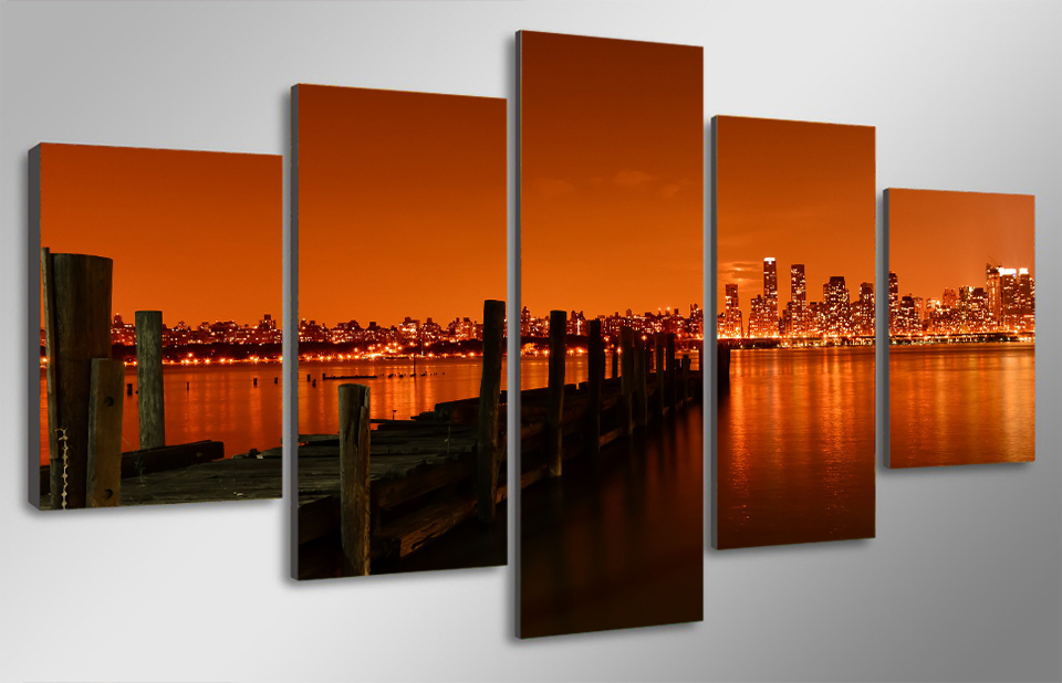 5 Pcs With Framed HD Printed last call hudson river Painting child room decor print poster picture black and white canvas art(China (Mainland))