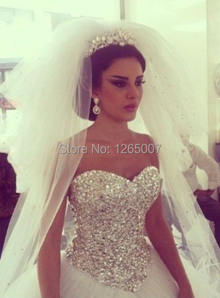 2014 Sweetheart Sparkly Beaded Diamond Shiny Top Ball Gown