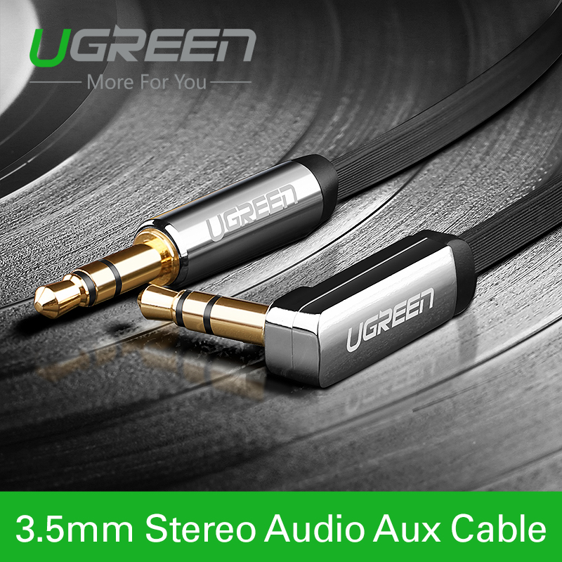 Ugreen 3.5mm audio cable 90 degree right angle flat jack 3.5 mm aux cable for car iPhone MP3/4 headphone beats speaker aux cord(China (Mainland))