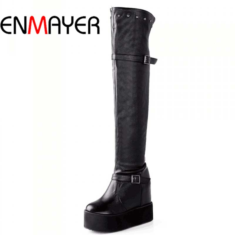 ENMAYER New 2015 Over-the-Knee Women Boots Sexy Rivets Wedges Warm