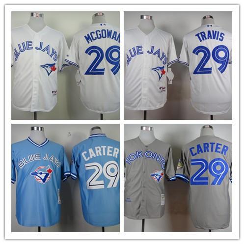 Toronto Blue Jays 29# Joe Carter Jersey 29# Devon Travis Baseball Jerseys White Blue Grey Free Shipping(China (Mainland))
