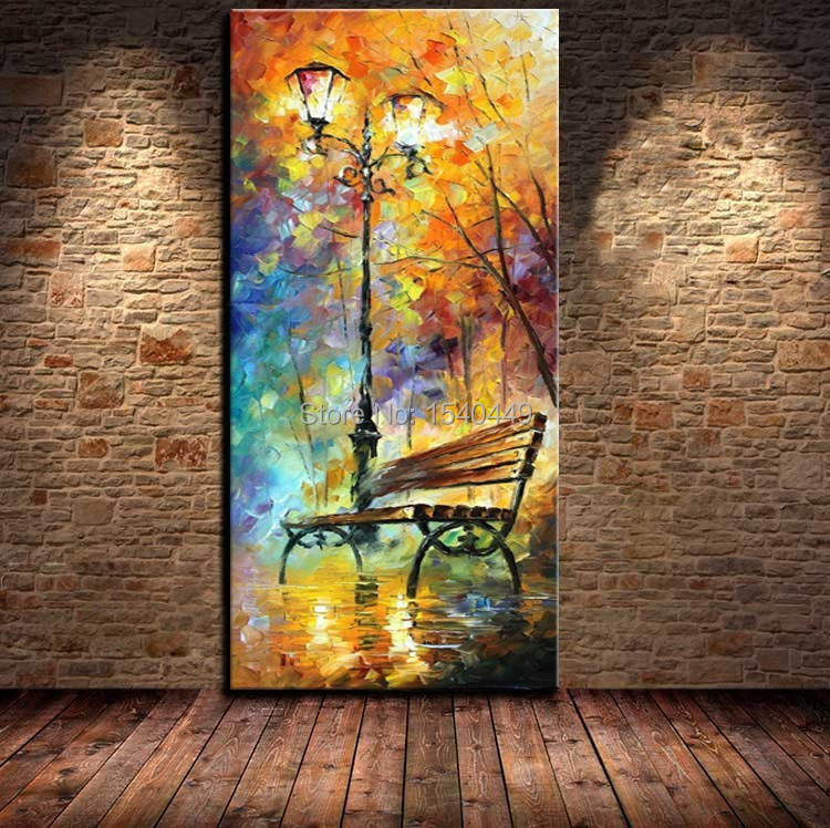 Hand-painted abstract landscape oil painting on canvas modern bench paintings vertical version adornment wall picture 1p374(China (Mainland))