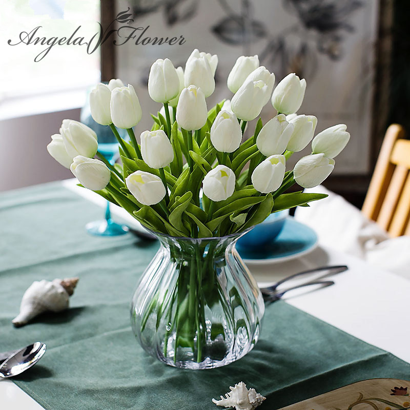 Free shipping 31PCS/LOT pu mini tulip flower real touch wedding flower bouquet artificial silk flowers for home party decoration(China (Mainland))