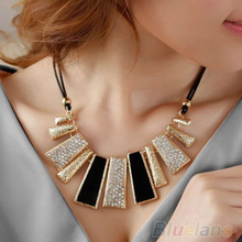 New Women Design Fashion Beads Enamel Bib Leather Braided Rope Chain Golden Necklace & pendants