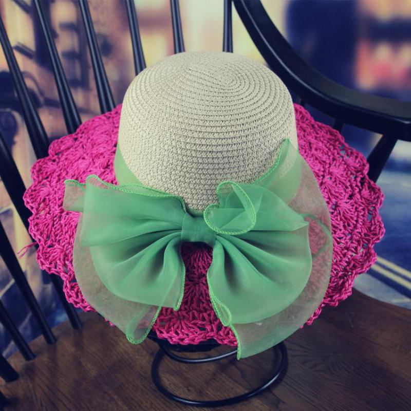YOCCAS 2016 New Children Children's Hat Along The Tong Powder Bow Hook Outdoor Hat Brim Kids Straw Hats Girls Hat Summer(China (Mainland))