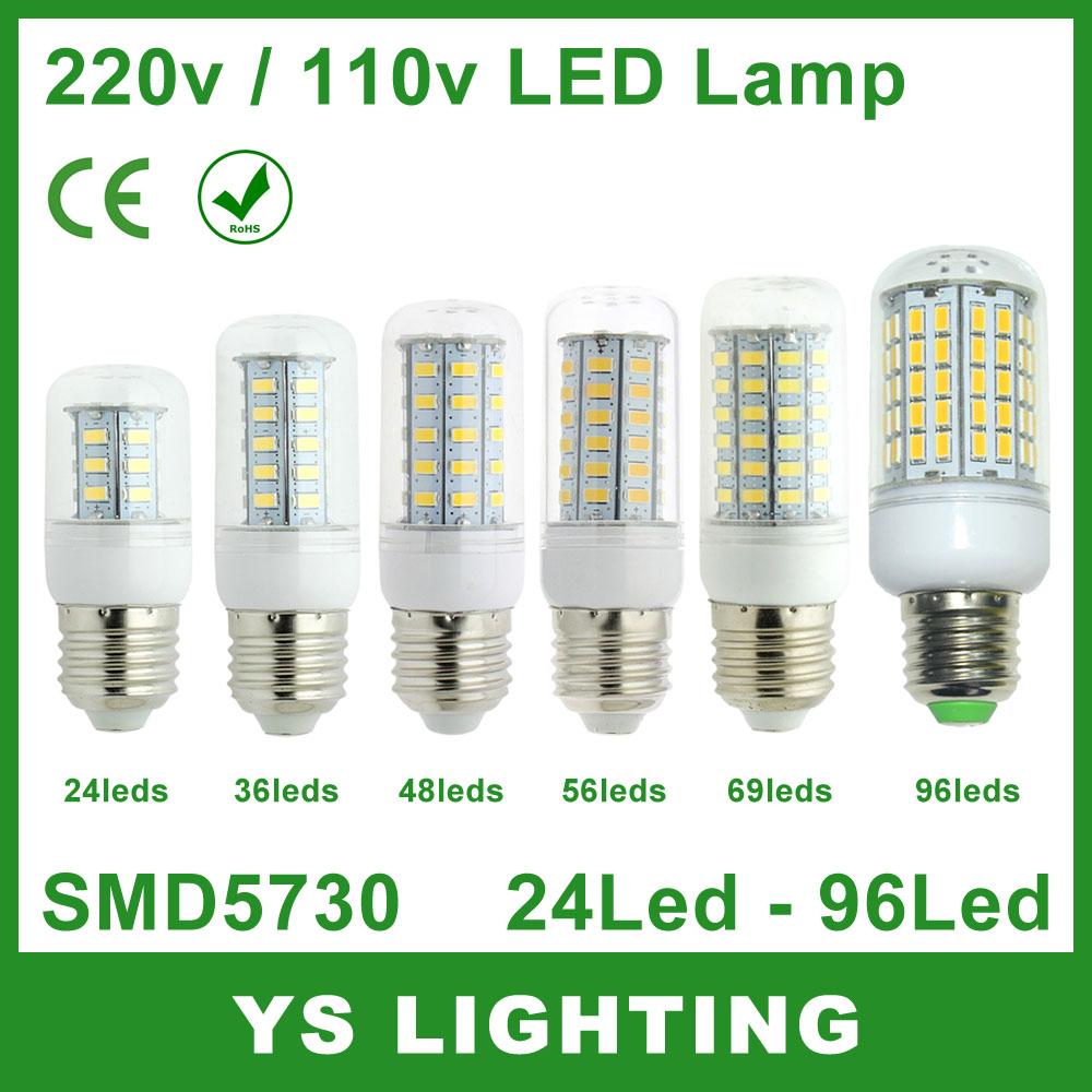 Bombillas LED Bulb E27 SMD 5730 lamparas LED Light 24 36 48 56 69 96 LEDs Lampada LED Lamp E27 220V Ampoule Candle Luz(China (Mainland))