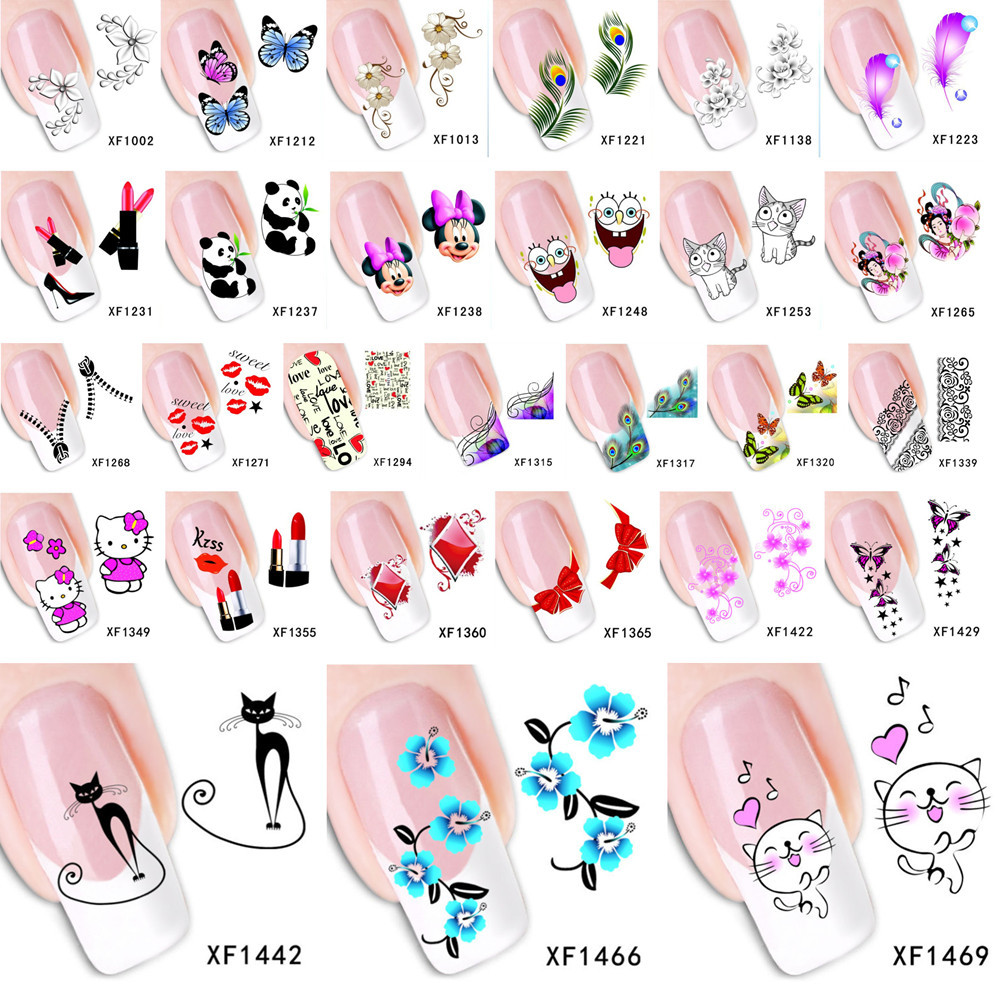 1 Sheet 2015 Top Sell Flower Bows Etc Water Transfer Sticker Nail Art Decals Nails Wraps Temporary Tattoos Watermark Nail Tools(China (Mainland))