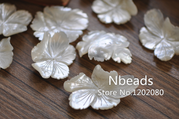 10pcs Unique MOP Shell Flowers 33-40mm, Large Carved White Mother of Pearls, Jewelry Making Supplies, Free Shipping