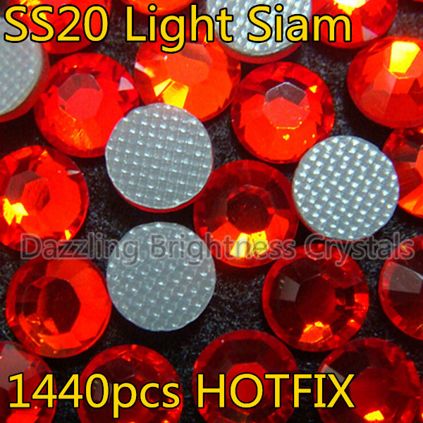 Mose Popular Size DMC Flatback Light Siam 5mm SS20 Lt.red Glass Strass Hotfix Rhinestones For Motifs(China (Mainland))