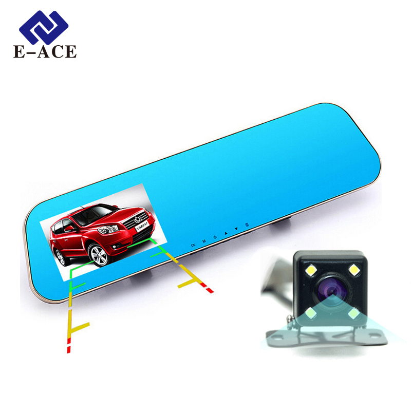 E-ACE Car Dvr Auto Video Recorder Rear View Mirror With Camera FHD 1080P Dashcam Dual Lens Parking Monitor Cars Registrator(China (Mainland))
