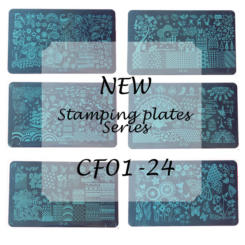 1 pcs tamanho médio Full padrões de cobertura CF placas Stamp Nail Art Stamping Template DIY placa