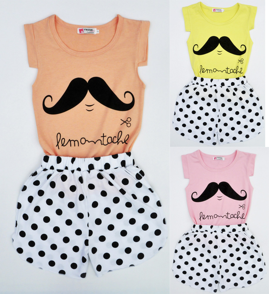 2015 baby girls clothing sets Moustache pink kids clothes toddler suits children t shirt Shorts Polka Dot conjunto roupa infanti(China (Mainland))