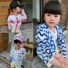 Children wear girls' long-sleeved sun protection clothing 2015 summer new leisure thin coat zipper sweater air conditioning 3-8Y(China (Mainland))