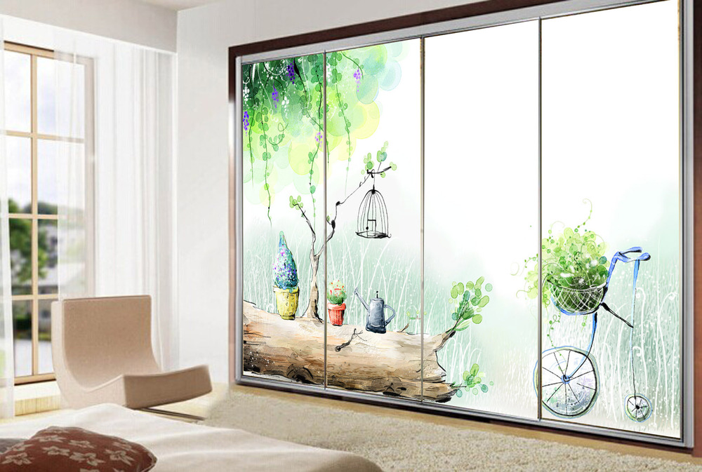 Window Stained Opaque Glass Sticker Kids Cartoon Fantasy Bathroom Door