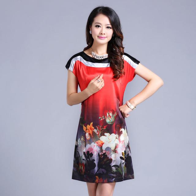 Free shipping 2013 high quality silk one-piece dress plus size slim o-neck mulberry women's casual dress