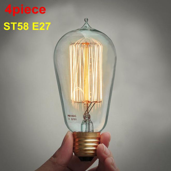 220V Incandescent Vintage Bulb E27 40W Retro Edison Style Light Bulbs ST58 tungsten lamp Wholesale Price 4piece(China (Mainland))