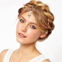 Hair Decoration Hair Band Head Dress Headbands Fashion Indian Boho white/red Beaded Head Piece Women Head Chain Hair Jewelry