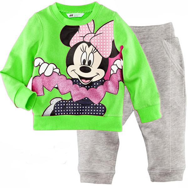Wholesale! Free shipping 6 sets/lot girl's Minnie homewear & sleep wear, green long sleeve shirt + long grey trousers