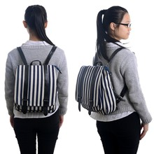Flap Pocket Backpacks Striped Line Girls Boys Schoolbag Laptop Bag Travel Bags 35*28cm New Free Shipping(China (Mainland))