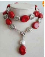Stunning Tibet Silver & Red Coral Necklace long 35inch Fashion Free shipping(China (Mainland))