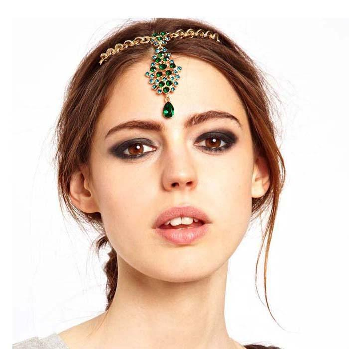 Ethnic Indian Green Crystal Flower Drop Forehead Hairpin Head Piece Gold Tone Hair Accessory(China (Mainland))