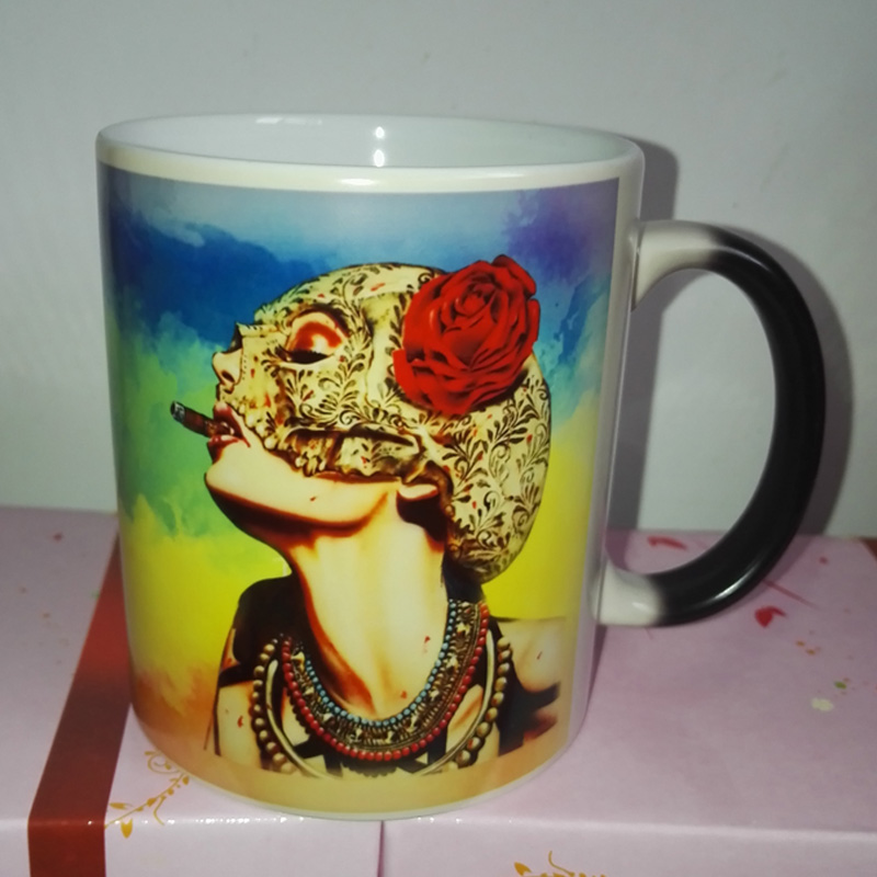 Red Sexy Smoking Girl Magic Color Changing Coffee Mug Morphing Nespresso Cups Free Shipping WOW(China (Mainland))