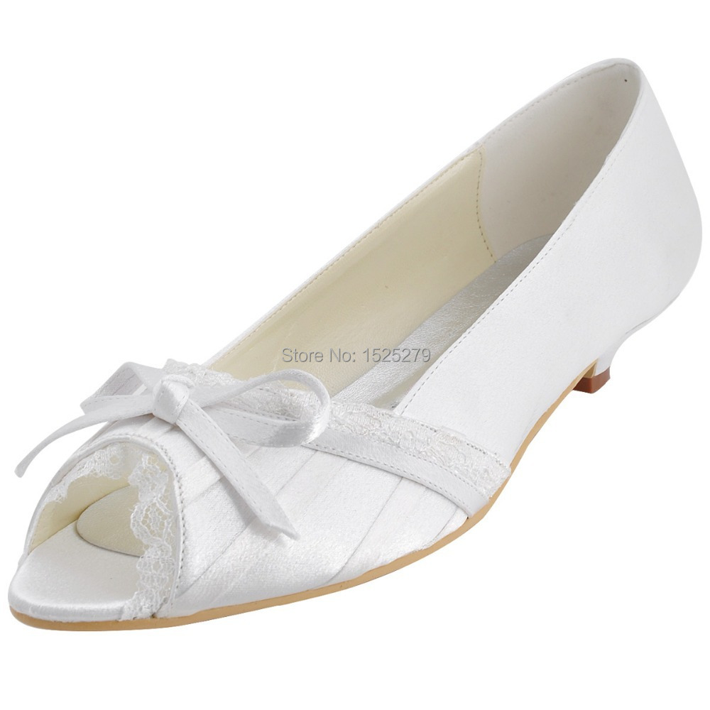 Custom Made More Colors EL10009 White Women Bridal Party Low Heels Prom Pumps Peep Toe Lace Trim Bow Pleated Satin Wedding Shoes<br><br>Aliexpress