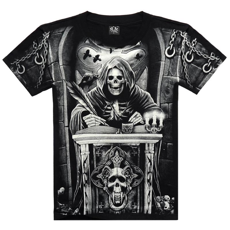 2015 summer new luxury brand mens punk rock skull tshirt cotton short-sleeved motorcycle t shirt Harley free shipping CJ006(China (Mainland))