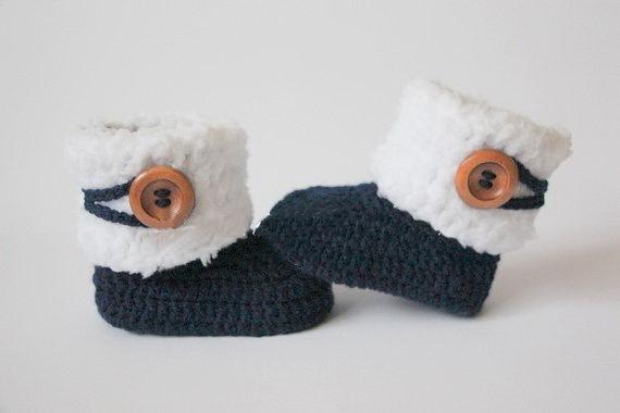 Вязание крючком пинетки ребенка, детская обувь, девушка, мальчик, белый, темно-синий, ...