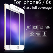 3D Cover arc For iphone6/6s glass Screen Protector Anti-blue For iPhone 6 6S Tempered Glass Full Coverage Protection