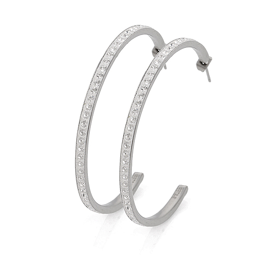 Wholeslae Fashion Stainless Steel Hoop Earrings With White CZ Stone Free Shipping<br><br>Aliexpress
