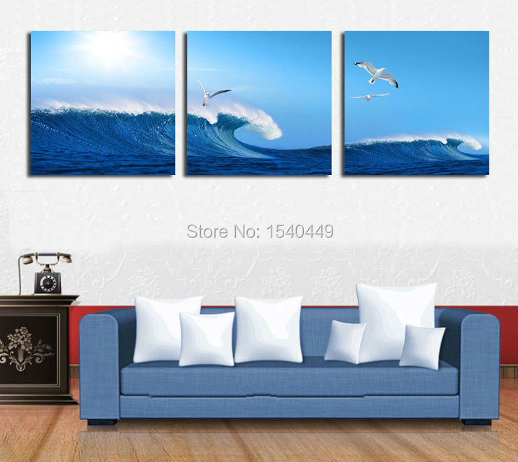 Modern HD Seascape Ocean Wave Canvas Prints Artwork Blue Painting 3 Piece Art Sets Wall Picture For living room Home Decor(China (Mainland))