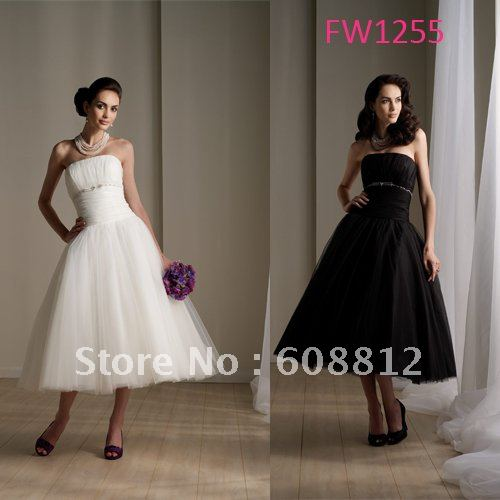 Strapless mid calf dress images for Calf length wedding dresses
