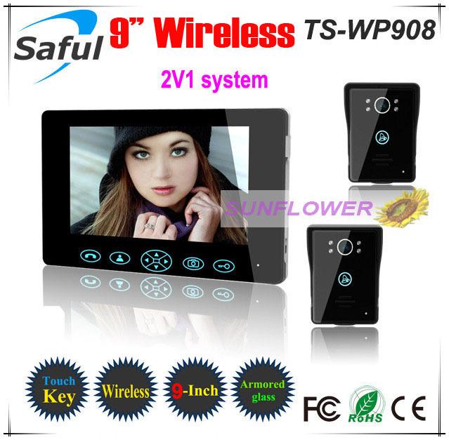 "Wireless 9"" video door phones door bells With Tamper alarm function strongest wireless signal touch key (1 LCD+2 outdoor units)(China (Mainland))"